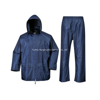 170T Polyester with PVC Coating Waterproof Navy Rain Suit