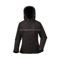 BF-JK-018SF 300gsm Printed Black Softshell Women's Jacket