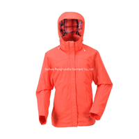 Nylon Taslon With PU Coating Orange Women Windbreaker Jacket