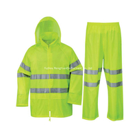 170T Polyester with PVC Coating Waterproof Fluorescent Yellow Rain Suit